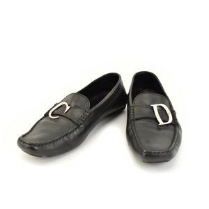 """DIOR: Black, Leather & """"CD"""" Logo, Loafers/Flats"""